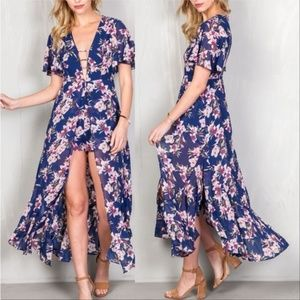 Pants - LOVELY MAXI FLORAL ROMPER